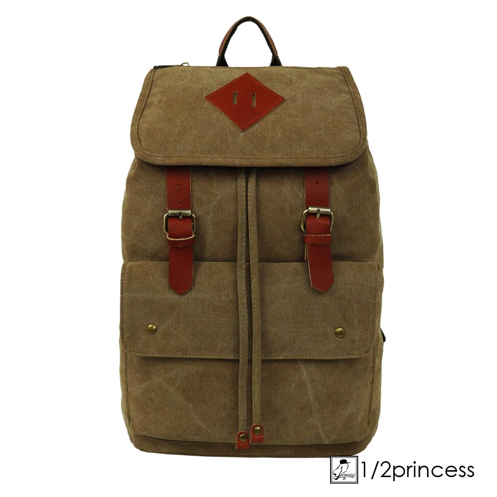1/2princess獨家訂製款水洗帆布簡約真皮雙扣後背包-卡其色[A2123](快)