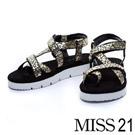 MISS 21 極簡優雅石頭紋布材質護趾休閒平底涼鞋-金