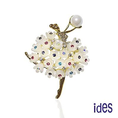 ides愛蒂思 淡水貝珠8mm設計款胸針項鍊/甜心芭蕾(兩用)