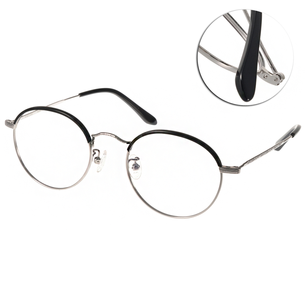 NINE ACCORD眼鏡 文青圓框/黑-銀#NICRO TH1 C02