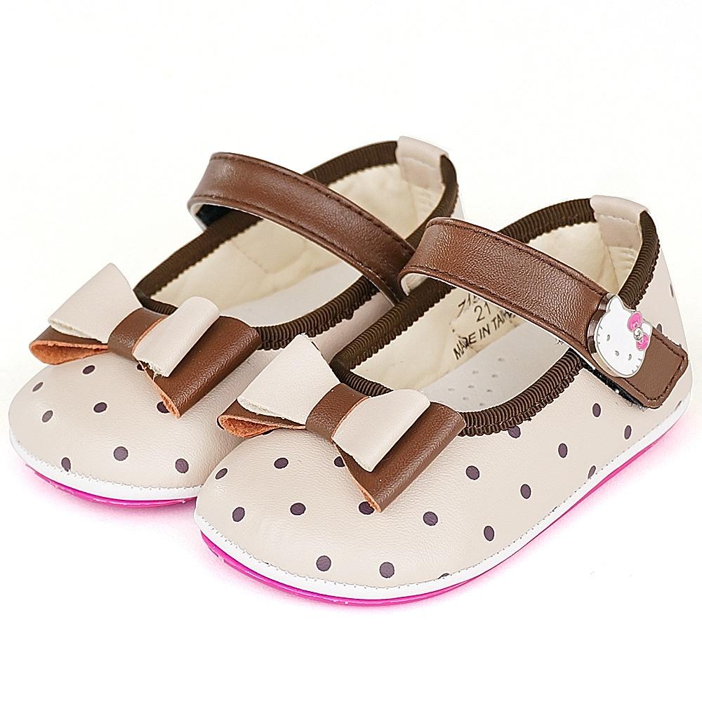 Hello Kitty專櫃超輕量纖維透氣皮防滑學步寶寶童鞋-米
