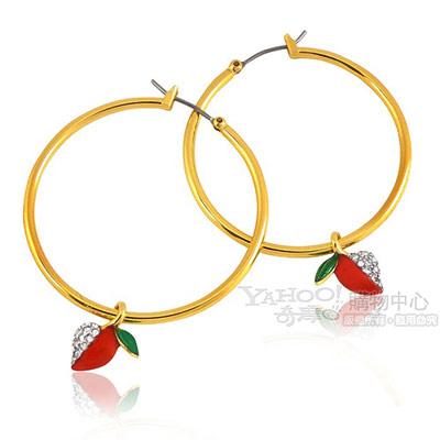 JUICY COUTURE 金色愛心蘋果晶鑽鑲嵌環型耳環