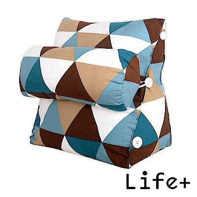 Life Plus 典雅格紋舒壓萬用靠枕/抱枕/腰靠枕 (藍咖格紋)