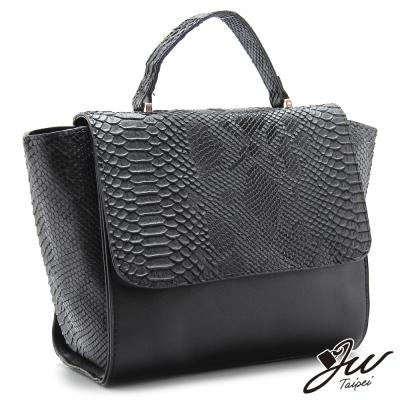 JW-魅惑梅杜莎鱷魚壓紋手提肩背兩用包-經典黑-快