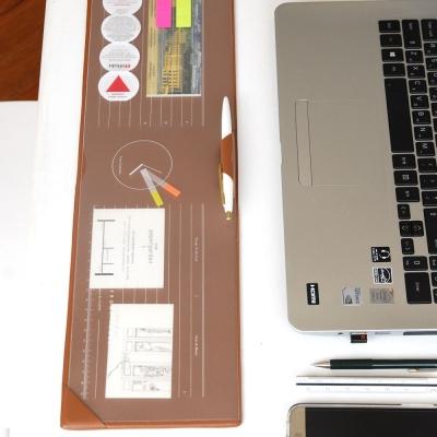 PLEPIC 辦公收納瘦長版皮革滑鼠墊-摩卡棕