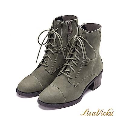 LisaVicky 搖滾麂皮繫帶粗跟軍靴-灰綠色