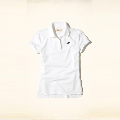 HCO Hollister 海鷗 經典刺繡海鷗Polo衫(女)-白色