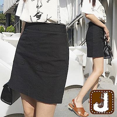 正韓 甜美腰身純色A字短裙-(黑色)100%Korea Jeans