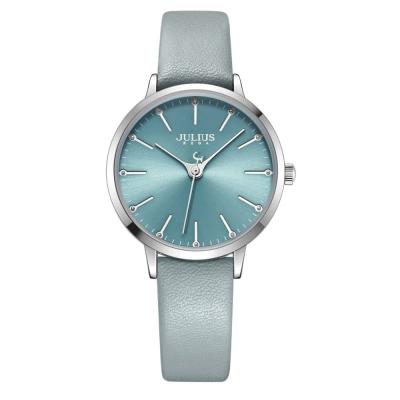 JULIUS聚利時 迷戀的精彩圓珠刻度皮錶帶腕錶-淺藍/33mm