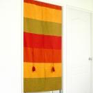 布安於室-色塊純棉中開式長門簾-橘紅色系