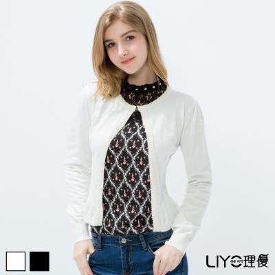 LIYO理優織帶亮片收腰針織外套-白-黑