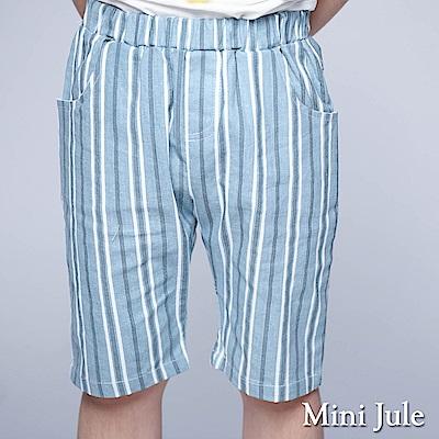 Mini Jule 童裝-短褲 粗細條紋口袋鬆緊短褲(藍)