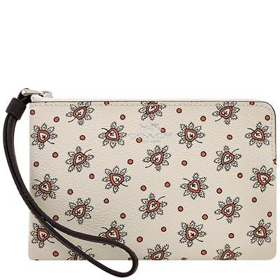 COACH 白色花卉圖樣PVC手拿包