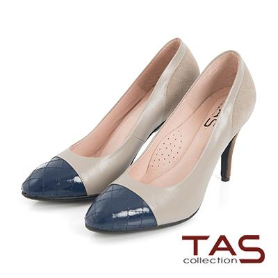 TAS 菱格紋撞色拼接高跟鞋-知性藍