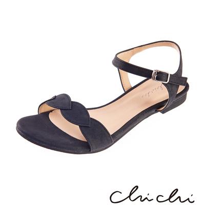 Chichi 葉子一字側扣環平底涼鞋*黑色