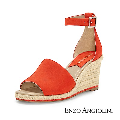 ENZO ANGIOLINI--魚口寬帶草編楔型涼鞋-夏日紅