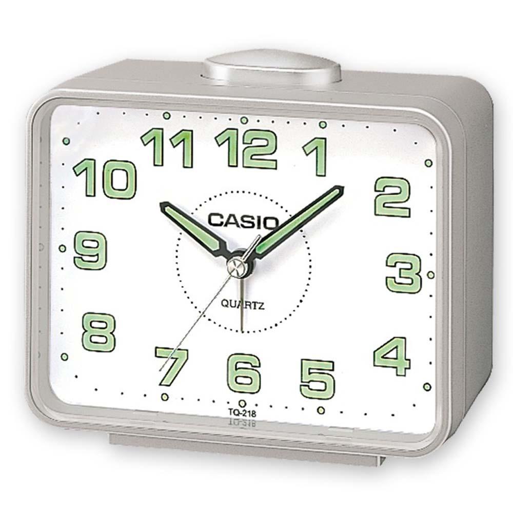 CASIO 夜間指針桌上方型簡約鬧鐘(銀X白面)