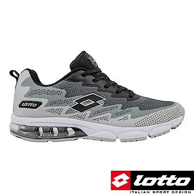 LOTTO 義大利 男 WAVEKNIT 編織氣墊跑鞋 (灰黑)