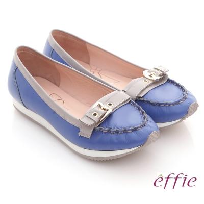 effie 趣味樂活 全真皮飾扣輕量休閒鞋 亮藍