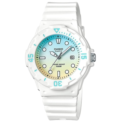 CASIO渲染漸層設計迷你潛水風指針運動錶(LRW-200H-2E2)白x雙色面32mm