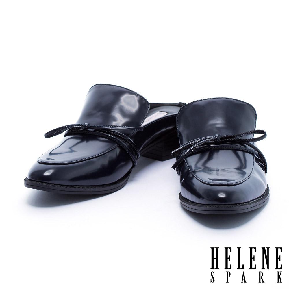 拖鞋 HELENE SPARK 簡約綁帶蝴蝶結純色穆勒粗跟拖鞋-藍
