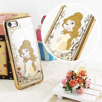 Disney迪士尼iPhone 8/7(4.7)電鍍彩繪保護套-公主系列-貝兒