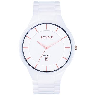 LOVME Concise陶瓷時尚腕錶-白x玫/40mm
