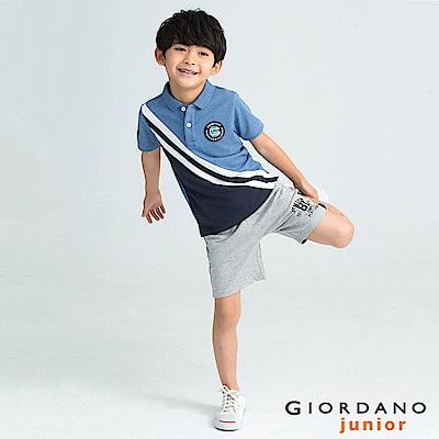 GIORDANO  童裝拿破崙刺繡布章短袖POLO衫-17 花紗靛藍
