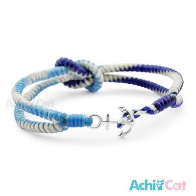 AchiCat 蠶絲蠟繩手鍊 925純銀 海洋風情