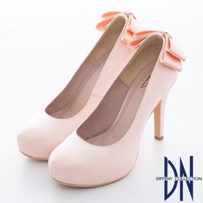DN-耀眼迷人-華麗金蔥蝴蝶結鑲鑽新娘晚宴鞋-粉