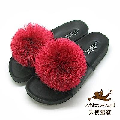 天使童鞋 好新晴蒲公英親子拖鞋(超大童)J898C-紅