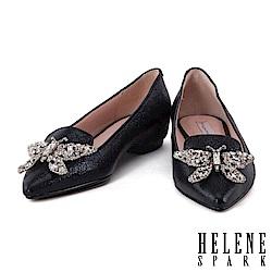 低跟鞋 HELENE SPARK 晶鑽蝴蝶金屬羊皮內增高尖頭低跟鞋-黑