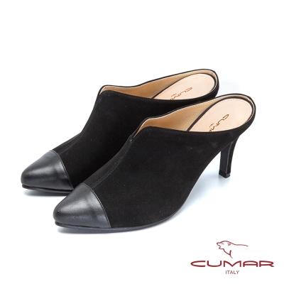 CUMAR台灣製造-真皮舒適後空高跟鞋-黑