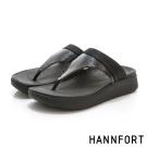 HANNFORT Ultra Comf 4D真皮T字拖鞋-女-星河黑