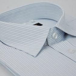 金‧安德森 白底藍細紋窄版短袖襯衫