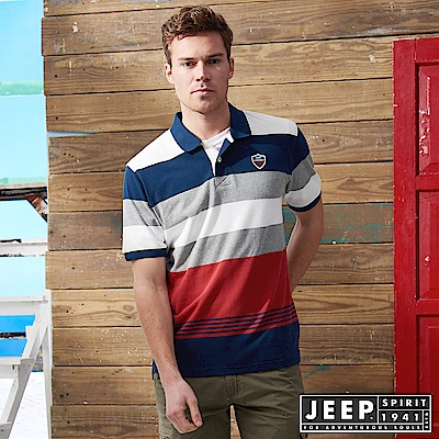 JEEP 品牌經典撞色條紋短袖POLO衫-紅色