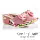 Keeley-Ann雙層蝴蝶結真皮高跟楔形拖鞋-粉