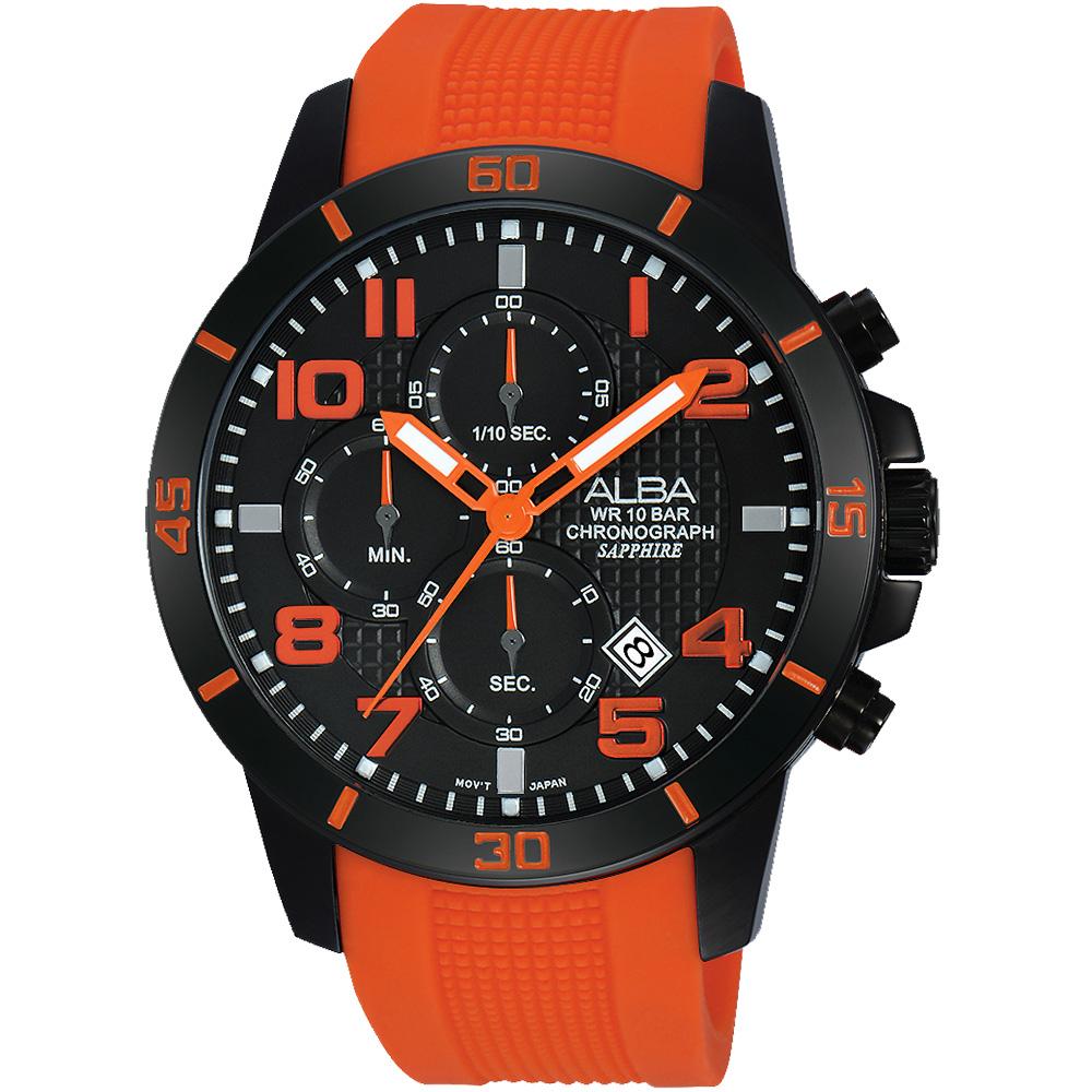 ALBA ACTIVE 活力運動計時腕錶(AM3257X1)-黑x橘/45mm