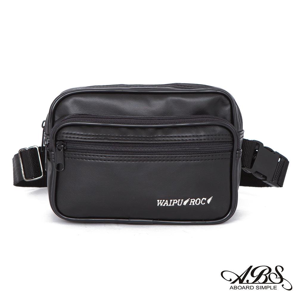 ABS愛貝斯 台灣製造 輕量防水旅行兩用式多層腰包 側背包(黑)722