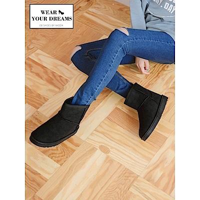 內層暖感絨毛平底雪靴-OB大尺碼