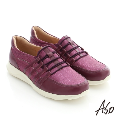 A.S.O 3D超動能 真皮拼接針鬆緊帶健走休閒鞋 紫色