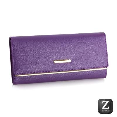 日光手感-安琪拉十字紋牛皮長夾-蘿蘭紫