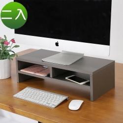 BuyJM 銀灰低甲醛防潑水雙層螢幕架/桌上架2入-DIY