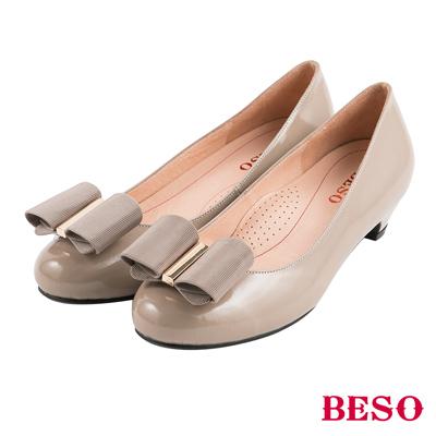 BESO清秀佳人  2ways穿法蝴蝶結與條紋織帶全真皮跟鞋~米