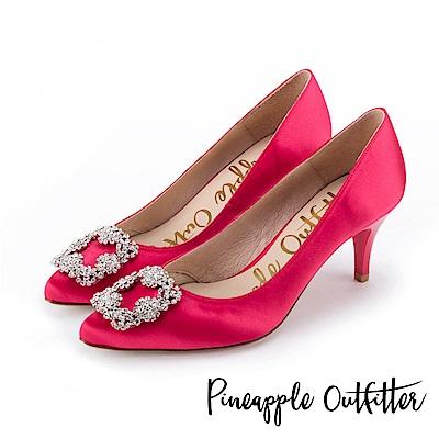 Pineapple Outfitter 璀璨名媛 方鑽飾釦尖頭高跟鞋-桃色