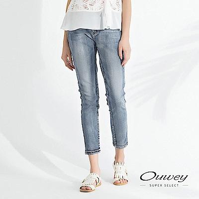 OUWEY歐薇 -5Kg刷白彈力修身牛仔褲(藍)
