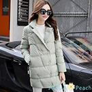 純色蓬感拉鍊設計羽絨棉外套 (綠色)-AQUA Peach