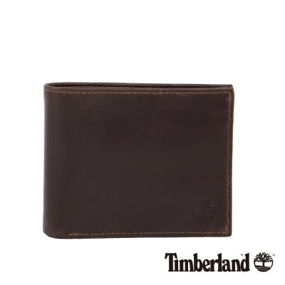 Timberland 男女款耐磨深咖啡色牛皮短夾錢包