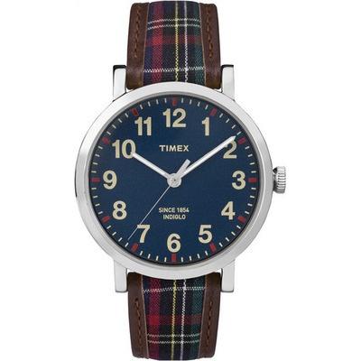 TIMEX 天美時經典復刻冷光系列腕錶-藍/格紋-42mm