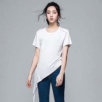 SUITANGTANG 側邊衣襬剪接上衣-白